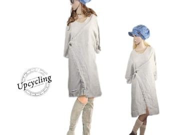 upcycling unique layered look shabby chic tunic wrap dress gown Size 46