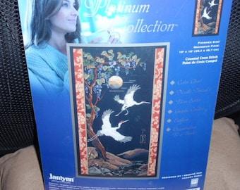 "Janlynn Platinum Cranes Grues Counted Cross Stitch Kit  10"" x 18"