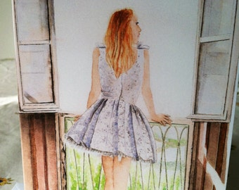 Girl watercolor print card fashion illustration