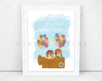 """Disney Pixar Up """"You are my greatest adventure."""" Carl & Ellie - 8x10 Instant Download Print Frame Wall Decor"""