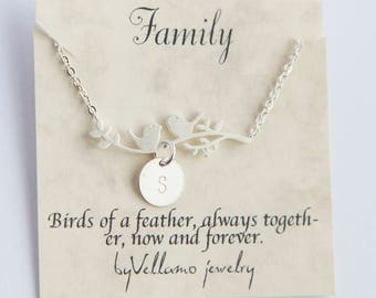 Family tree gift, custom initial necklace, silver personalised minimalist birds branch, silver jewelry monogram necklace for best friend