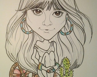 Linda Ronstadt Rock Portrait Rock and Roll Caricature Music Art by Leslie Mehl