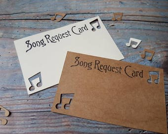 Rustic Song Request Cards , handstamped .Ivory, Kraft Brown. Perfect for weddings, Birthdays, Sweet 16 parties . In many colours