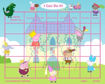 Personalized Children's Reward Chart, Playful Pig, 2 VERSIONS! Printable DIY
