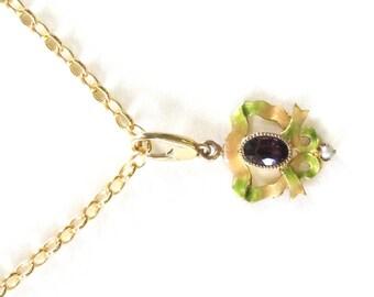Victorian Pearl Enamel 14k Charm Pendant Necklace