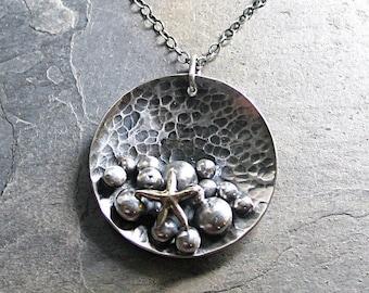 Starfish pendant pebble rustic ocean nature jewelry beach jewelry - Pebble Shores