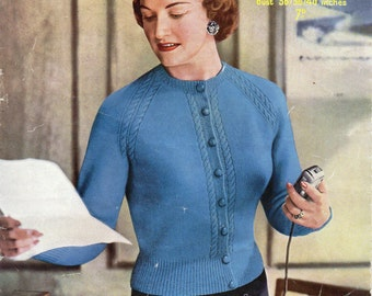 """womens fitted cardigan knitting pattern pdf download vintage 1950s ladies cardigan 36-40"""" 4 ply womens knitting pattern pdf instant download"""