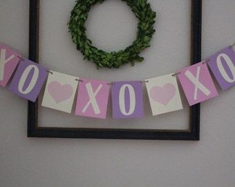 XOXOXO Valentine's Banner / Purple & Pink / Hearts
