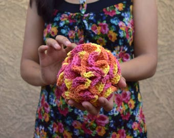 Crochet bath pouf multicolor orange yellow pink cotton shower puff scrub ball bath sponge shower scrubby handmade gift for friend