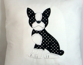 Boston Terrier Applique Embroidered Muslin Decorative Accent Pillow