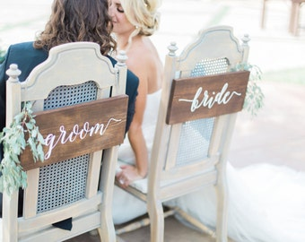 Bride & Groom Signs, Bride and Groom Chair Signs, Rustic Wedding Signs, Rustic Wedding Chair Signs, Sweetheart Chair Signs, Wedding Signs