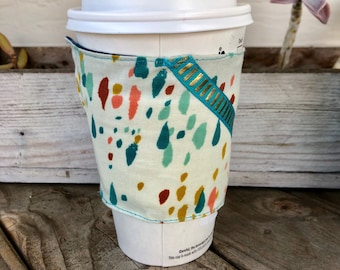 Paint and Ribbon Grande Coffee Cozy Reversible Cup Cozy To Go Cup Sleeve Teacher Gift Frappuccino Batik
