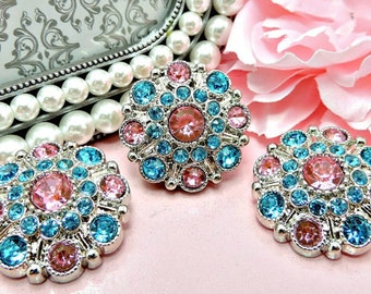 PINK & TURQUOISE Rhinestone Buttons Dress Coat Buttons Large Vintage Style Silver Acrylic Rhinestone Buttons Garment Button 28mm 5051 25 26R
