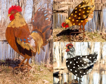 Rooster and 2 Hens Garden Stakes Buy all 3 and Save!