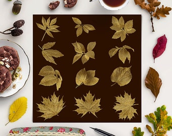 GOLD LEAF, Autumn Leaves Clipart, Gold Leafing Foil Overlays, Gold Foil Photoshop Overlays, Autumn Clip Art, Coupon Code: BUY5FOR8