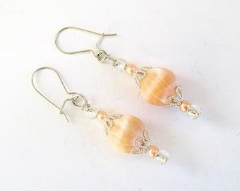 Peach Earrings, Pearl Jewelry, Sterling Silver Earrings, Cute Jewelry, Feminine Earrings, Maid of Honor Earrings, Gift for Her 1-3/4in