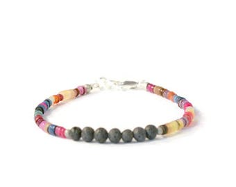 Aromatherapy Oil Diffuser Bracelet, Rainbow Heishi Shell and Lava Rock