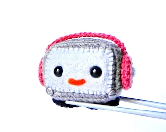 Amigurumi Gray Robot MochiQtie - Crochet Amigurumi mochi size mini stuffed toy doll