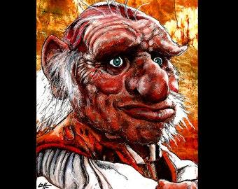 "Print 8x10"" - Hoggle - Labyrinth Movie David Bowie Fantasy Dwarf Jim Henson Fantasy Goblin King Dark Art Surreal Magic Fairies Fairy Pop Art"