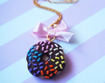 Rainbow Donut Necklace ( food miniature chocolate donut food necklace doughnut necklace sprinkles gift for her polymer clay jewelry)