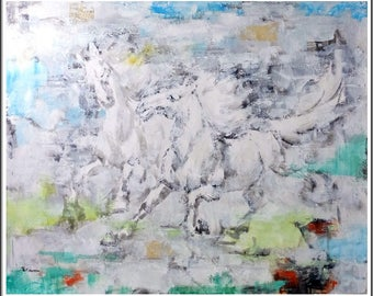 """Modern Abstract Horses Signed by Lena Gustav Original Oil on Canvas 48"""" x 60"""""""