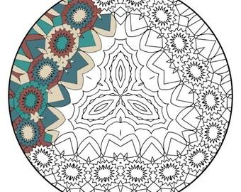 Mandala Coloring Pages - The Tudela - Mandala Coloring Page Printable, Adult Coloring, Digital Coloring, Mandala Art