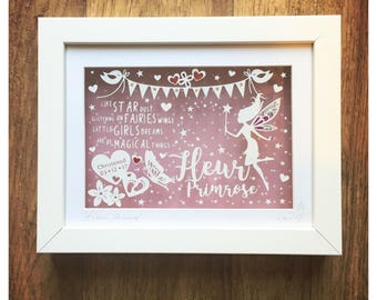Fairydust Personalised Gift, Birthday/New baby gift, Papercut Art