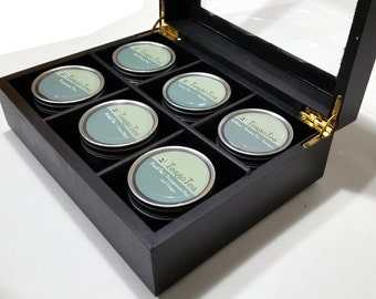 Tea Sampler Wooden Tea Gift Box Set and chest with 6 Loose Teas in Metal Tins 1/3 LB of Tea