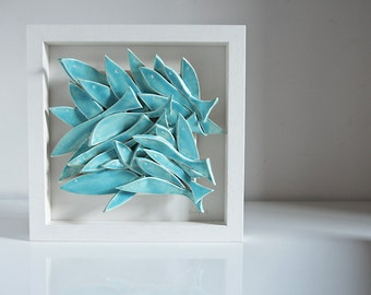 ceramic wall art, School of Fish, pottery tile, ceramic tile, light turquoise white, nautical wall hanging by karoArt.