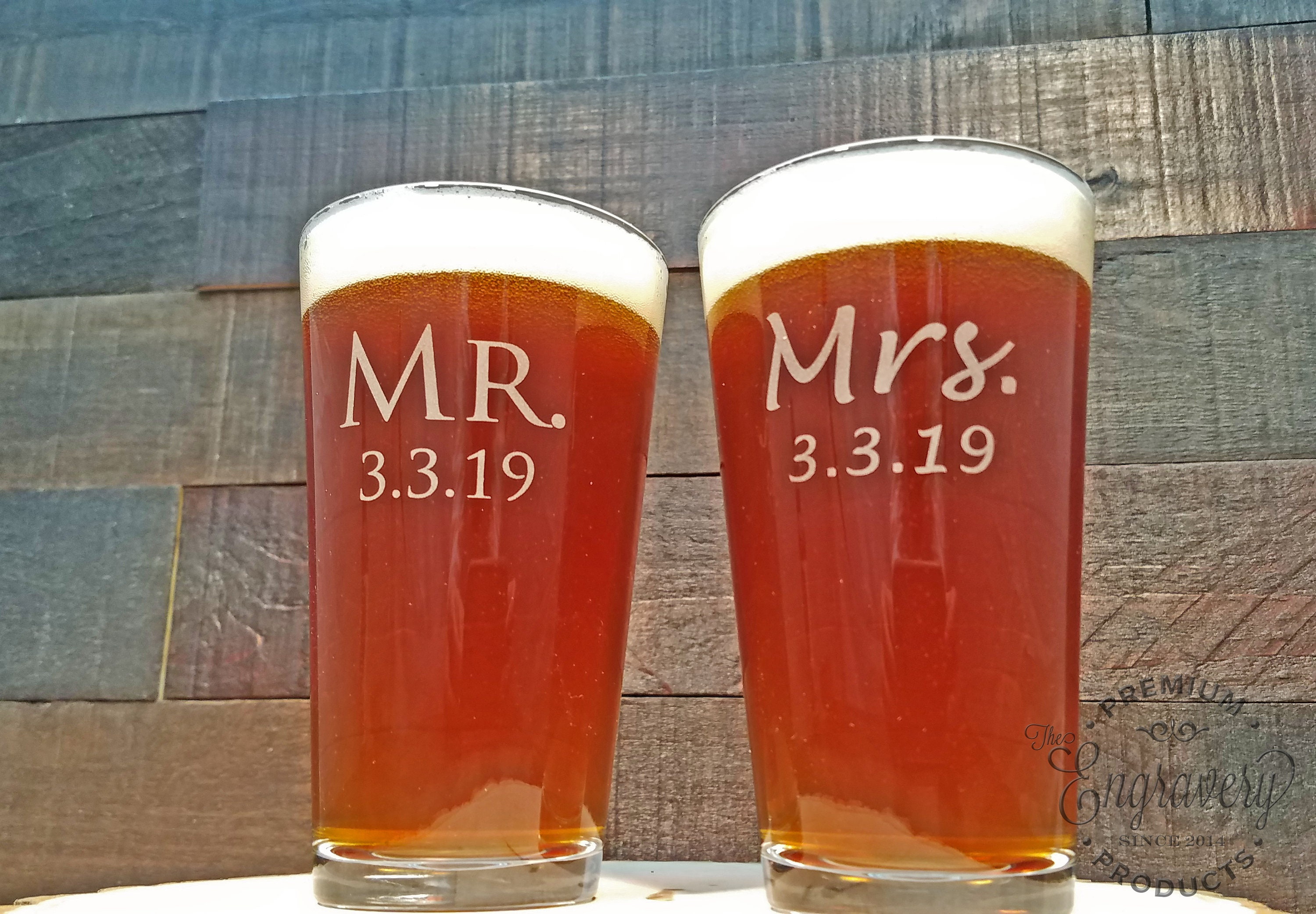 Mr. and Mrs. Beer Glasses, Custom Engraved with Date, Personalized Beer Glass, Wedding Gift, Beer Gift, Choose Two Custom Fonts - Set of 2