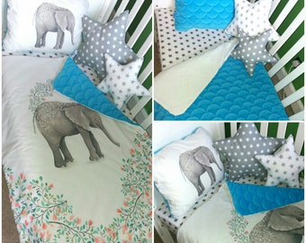 Grey and blue elphant crib/cot  bedding set