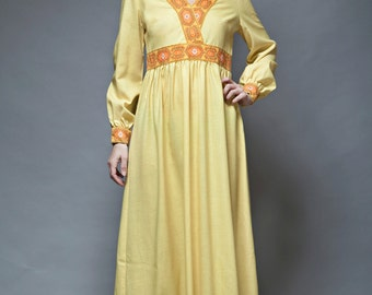 yellow maxi dress hostess empire waist vintage 70s floral trim M L MEDIUM LARGE long sleeves ankle length