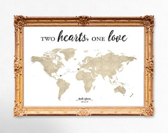 World map wedding guest book - Two Hearts, One Love - 20x30 - 24x36 - 18x24 PRINTABLE