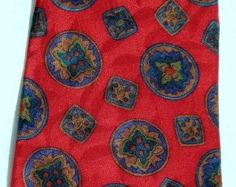 Red Vintage Tie SiLk Necktie Medallions Designer Modernist Valentine's Father's Day Husband Hollywood Mad Men Quality Signed London Liberty