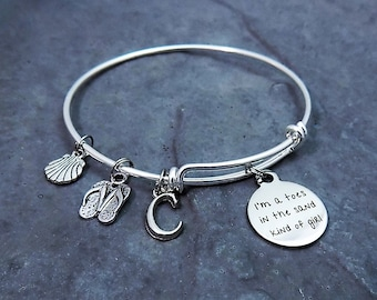 I'm a Toes in the Sand Kind of Girl -  Beach Charm Bracelet - Beach Jewelry - Personalized Bracelet - Flip Flops - Tiny Sea Shell - Initial