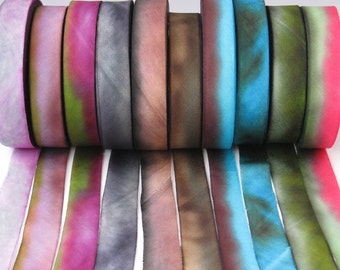 Hand dyed Silk Ribbon,  Hand Dyed Silk Ribbon Sets, Hand Dyed Silk Ribbon, bias-cut 5/8 wide