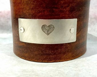 Heart Custom Text on Wide Distressed Leather Cuff