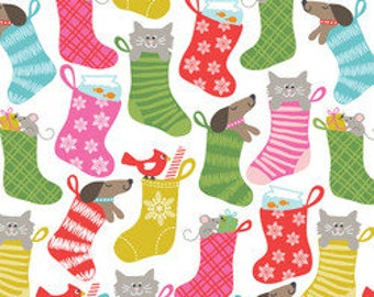 """Stocking Stuffers Christmas Fabric from """"Even a Mouse"""" by Maude Asbury for Blend Fabrics. Dog and Cat. 100% cotton. 1101.124.01.2"""