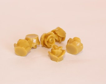 10 TEENY ROSE Cabochons - 8mm - Muted Mustard Color
