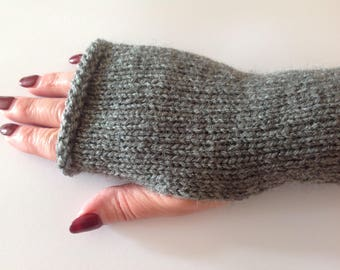 Wrist Warmers Hand Knitted Grey