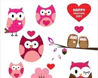 Sweet Valentine Owls - Digital clip art. - Use for cards-scrapbooking  -digital art - PNG images-digital sheet