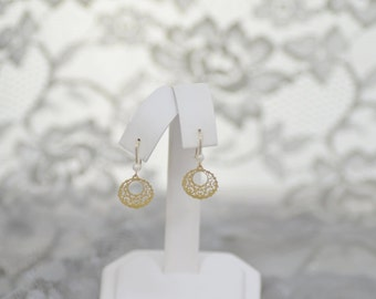 14k YG Filligree Style Dangle Earrings With Cultured Pearl Accent Small