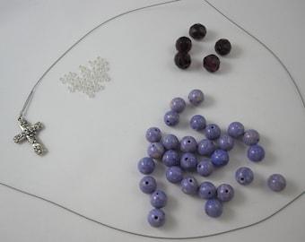 DIY Prayer Bead Kit - Light Purple River Stone and Amethyst Fire-Polished Glass