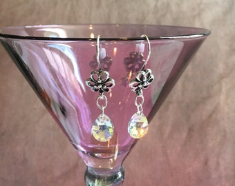 Antique silver flower shapped earrings with teardrop shaped Crystal dangle