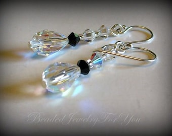 Wedding Earrings - Jet Black Swarovski Crystal Bridesmaid Dangle Earrings