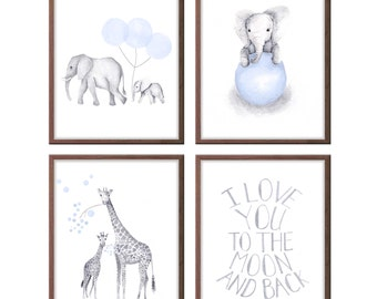 Baby Boy Nursery Art, Baby Blue and Gray Nursery Art, Elephant Nursery Decor, Set of Four, Safari Animals Wall Art, Giraffe Art - S403W