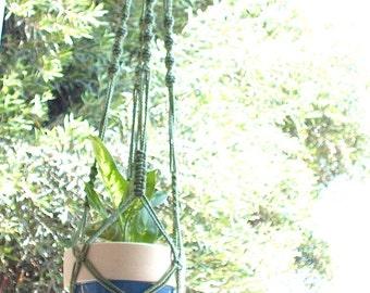 Macrame Plant Hanger Vintage Style 40 inch 4mm Sage Green