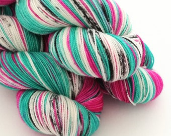 Hand dyed yarn, 100g of silver sparkle sock yarn, superwash merino/nylon/stellina, indie dyed Lucky Rose, pink, greens, black speckles white