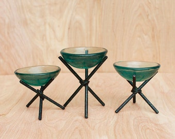 Mid Century Modern Trio of Unique Sea Green Glass Bowls on Wrought Iron Stands