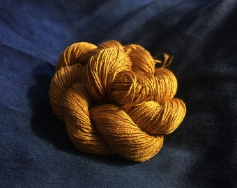 Antique Gold Yarn | Silk Yarn | Gold Silk Skein | 100% Silk Yarn | Yellow Yarn | Yellow Silk Yarn | Yellow Floss | Mustard Yellow Peace Silk